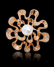 Austrian Crystal & Pearl Round Brooch 18K Large Rose Gold Plated And Genuine