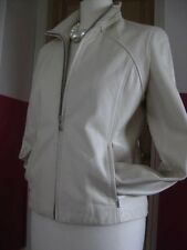Ladies M&S ivory fine leather short length JACKET COAT UK 10 zip biker bomber
