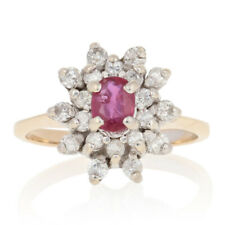 Yellow Gold Ruby & Diamond Ring - 14k Oval Cut .60ctw Halo Flower