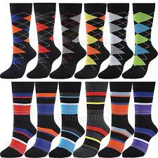 12 Pairs YDS6+16 New Cotton Men Stripe Argyle Dress Socks Size 10-13 Multi Color