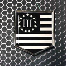 "Nyberg Three Percent MONOCHROME Flag Domed CHROME Emblem Car Sticker 2x 2.25"" 3%"