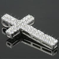 Damen Kreuz Anhänger Zirkonia 925 Sterling Silber A1301S