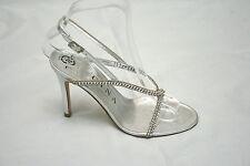 Gina Astor silver diamanté strappy sandals UK 5/EU 38, RRP £425, BNWB (3971)