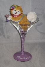 POMIKAZE Drink Glass Removable Pomeranian With Drink NWOB Glass Resin
