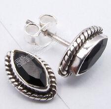 "Pierced Studs Earrings 0.4"" Artisan 925 Sterling Silver Original Black Onyx"