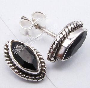 "925 Sterling Silver Original BLACK ONYX PIERCED Studs Earrings 0.4"" ARTISAN"