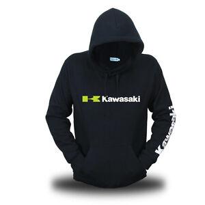 Genuine Official Kawasaki Extreme Biker Motocross Motorcycle Black Hooded Hoodie