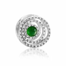 【KOOJADE】 KJade 925 Sterling Silver Green Jadeite Swirl Charm