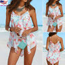 3PCS Women Tankini Set Bikini Bottom Plus Mesh Floral Swimwear Swimsuit Beach US