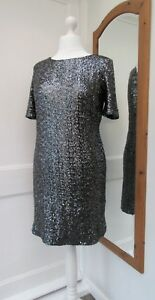 PEWTER SILVER SEQUIN PARTY CRUISE DRESS SIZE 16 BRAND NEW