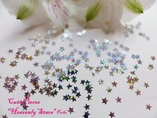 Nail Art Holographic *Silver Xmas Heavenly Stars* Small Pack Spangle Glitter P5