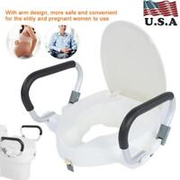 10cm Elevated Raised Disability Aid Toilet Seat With Removable Lid Padded Arm US
