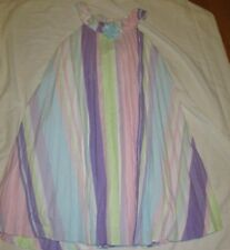 Rare Editions Pleats Dress Girls Size 14 Spring Colors Flower Stripes Lined