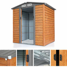 Shed Wood Storage 6 x 5 ft. Galvanized Low Gable Cream with Charcoal Trim