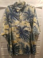 Van Heusen Mens Hawaiian Shirt Blue Yellow Palm Trees Size XL preowned excellent