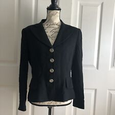 VTG Guy Laroche Womens Black Blazer Sz 42 France US 12 Wool Lined Silver Buttons
