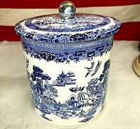 ⭐Blue and White Willow Breakfast Tea Canister Metal Tin Can With Lid⭐