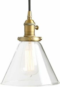 Permo Industrial Pendant Light/ Funnel Flared Glass Shade 1-Light Color: Anqitue