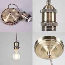 Vintage Edison Cable Pendant Light - E27/ES - 1.5M - Antique Brass Finish