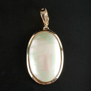 14k Yellow Gold Oval Mother Of Pearl Solitaire Pendant Enhancer 6.7ct 5.0g