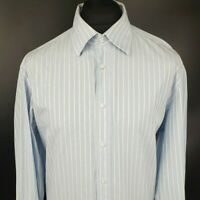 Hugo Boss Mens Formal Shirt 45 17 3/4 XXL Blue Regular Fit Striped Cufflink Cuff