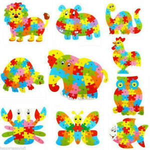 Wooden Puzzle Alphabet ABC Learning Toys Jigsaw kids Fun Educational Fish Shapes