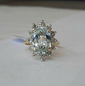 18ct Gold Aquamarine And Diamond Cluster Ring.