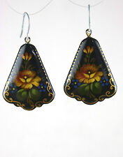 Russian Hand-Painted Black Earrings with Yellow Flowers 5130 Artisan