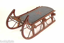 """Antique Sled Original Blue Red Paint Star Motif Very Good Condition ~17x17.5x39"""""""