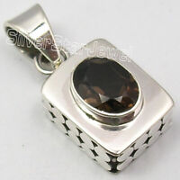 "925 Solid Sterling Silver Smoky Quartz Pendant 1"" 4.4 Grams New Art Jewelery"