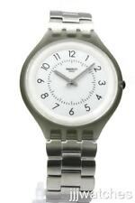 New Swatch SKINSTEPS Brushed Stainless Steel Skin Watch 40mm SVUM101G $130