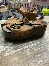 1970's Vintage Leather and Wood Sandal POP OUT Skate Shoes Size 6