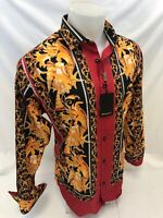 Mens PREMIERE Long Sleeve Button Down Dress Shirt BLACK GOLD JEWELS ABSTRACT 334