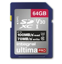 64GB Integral Ultima Pro SDXC 100MB/s CL10 UHS-1 U3 V30 Memory Card