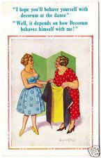 DONALD McGILL #2158 - Dancing With Decorum At The Dance - c1950s comic postcard