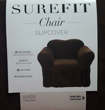 Sure Fit 1 Piece Suede Chair Slipcover Chocolate Brown
