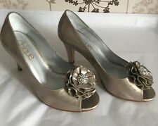 "NEW ""Chique"" 100% Leather Peeptoe Heels, Size 5, Champagne gold - diamante front"