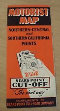 "RARE 1920's ""MOTORIST MAP""~N & S CA Points VIA ""SEARS POINT CUT-OFF"" Toll Road~"