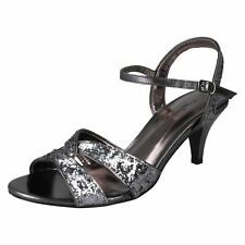 Ladies Anne Michelle Ankle Strap Glitter Evening Sandals With Medium Heel F10159 Pewter UK 4