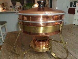 Vintage Copper Brass Fondue Pot 6 Piece Set