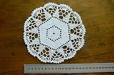 Unique Hand CROCHET DOILY Cotton WHITE to IVORY Round Approx 17.5 to 18cm across