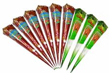 6 Brown+3 Green Henna Cones Combo Kit Temporary Tattoo Body Art Ink DIY Mehandi