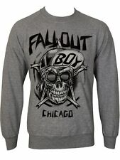 Official Fall Out Boy - Skull -  Men's Grey Crew Sweatshirt