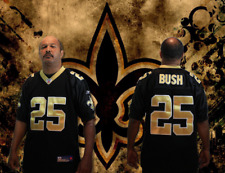 Men's Reebok New Orleans Saints Black/Gold Reggie Bush Replica Jersey:Size 50