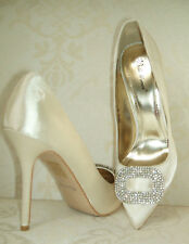 SIZE 3 4 5 6 7 8 CREAM IVORY SATIN DIAMANTE BRIDAL OCCASION COURT SHOES