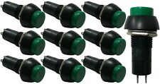 """(10) Green Round Momentary Push Button Switches 3A 250V OFF ON SPST 1/2"""" Diam"""