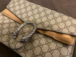 GUCCI Dionysus Silver Chain Shoulder Bag Beige Brown Tiger Head Authentic