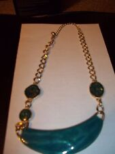 "LADIES FASHION JEWELRY NECKLACE 9"" TURQUIOSE GREEN W/ GOLD CHAIN CHOKER COSTUME"