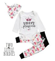 Baby Girls Daddy's Princess Clothes Outfits Romper Tops Pants Hat Sets Baby body