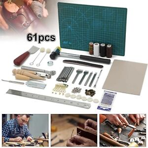 61 PCs Leather Craft Sewing Punch Tool Kit Set Cutter Carving Working Stitching